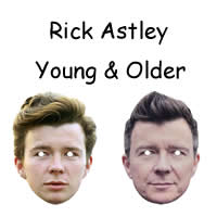Young and Older Rick Astley Singer Mask*